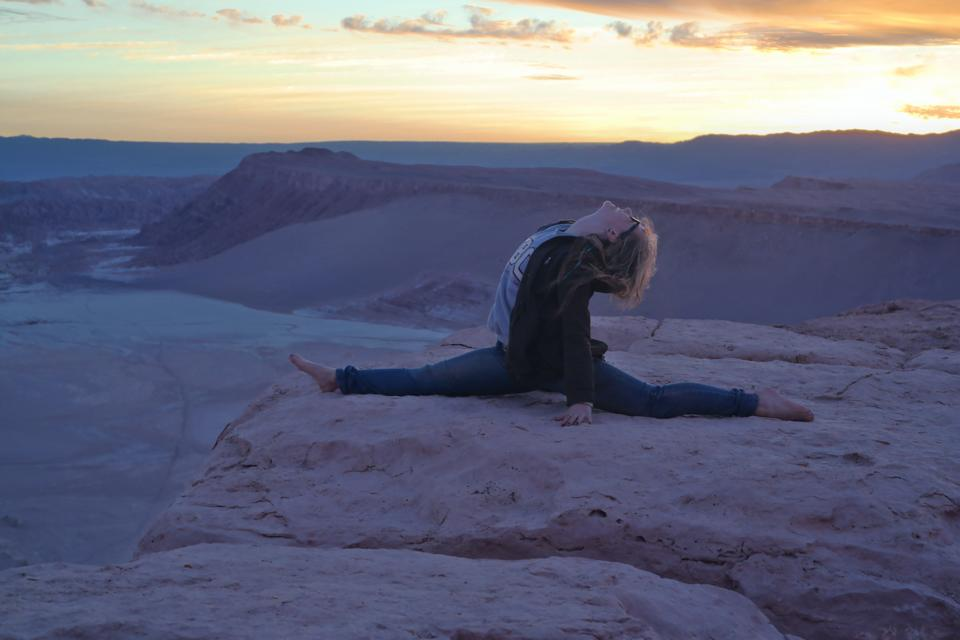 Sunset yoga in the Atacama Desert