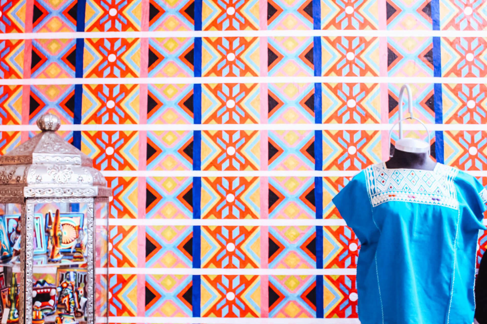 Patterned Gift Shop Wall   Frida Kahlo Museum