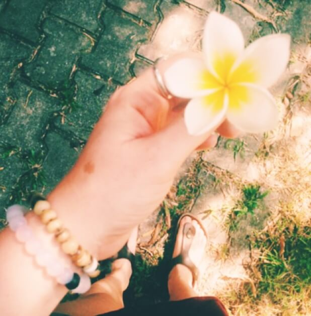 Hand Holding Yellow and White Flower   Go to Thailand