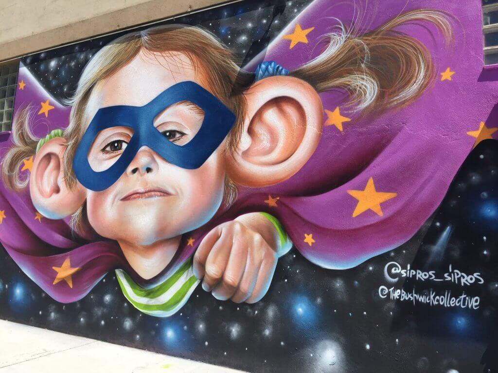 Bushwick Street Art | Superhero baby