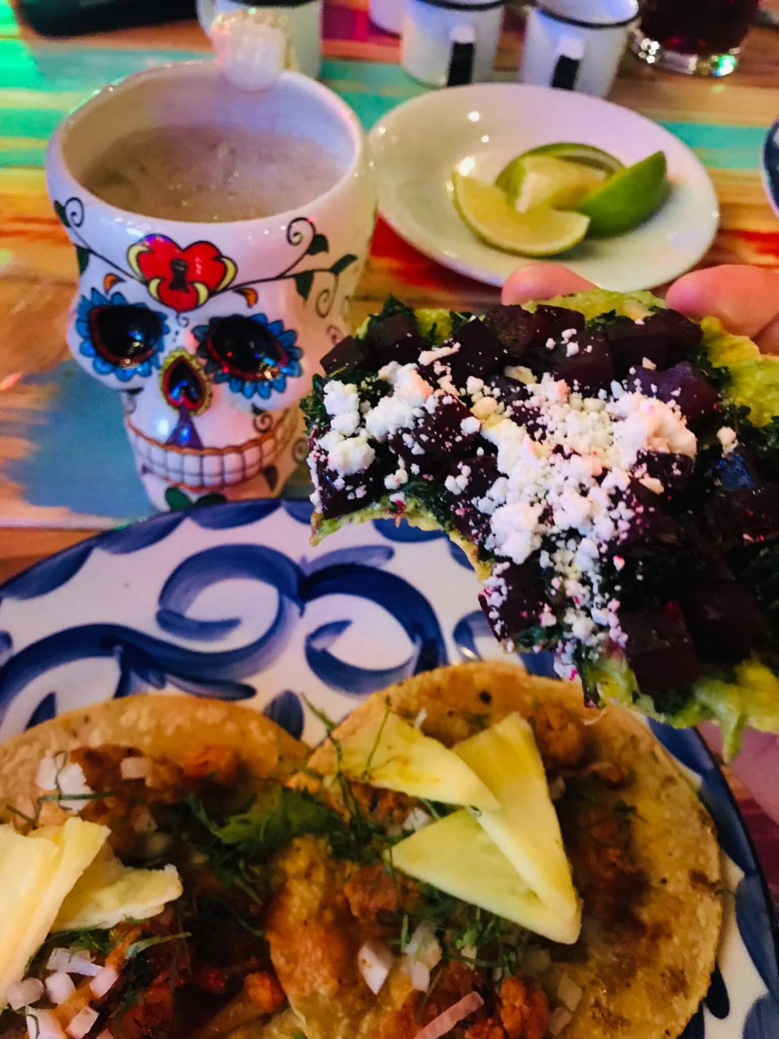 Vegan tacos and vegetarian tostada | Vegan restaurants in Mexico City