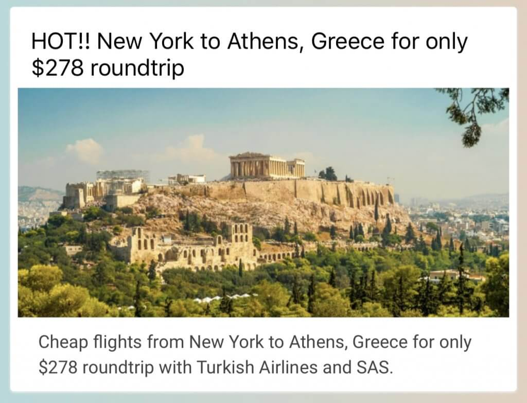 New York To Greece Cheap Flight with Secret Flying | Affordable Transportation