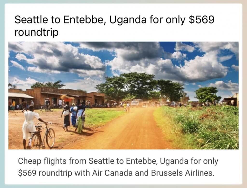 Seattle to Uganda Cheap Flight with Secret Flying | Affordable Transportation
