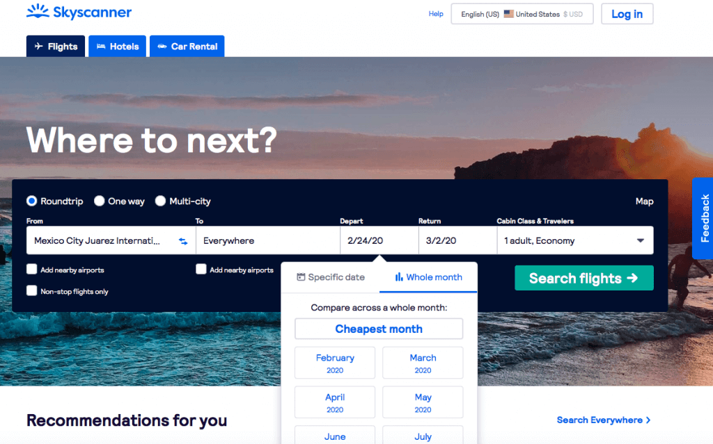 Skyscanner | Make Sure You Select 'Whole Month' - Affordable Transportation