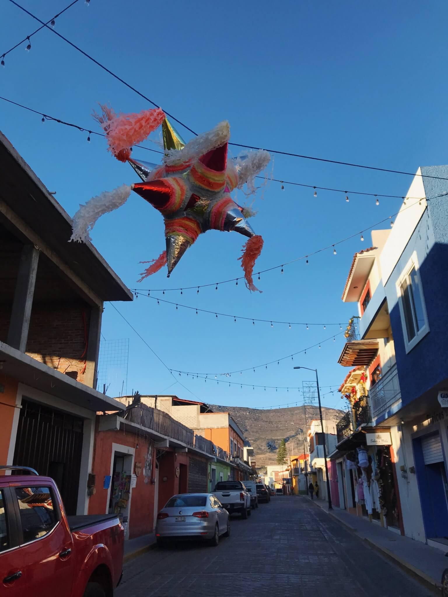 Cute streets and a Piñata in Mitla, Oaxaca