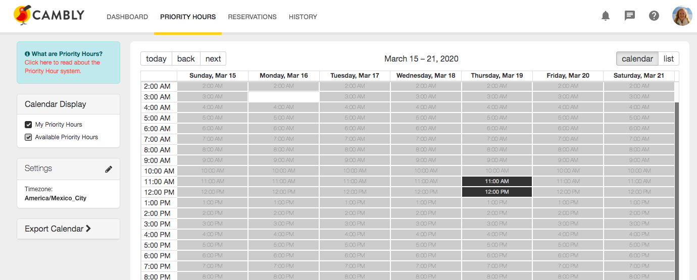 Cambly Priority Hours Page